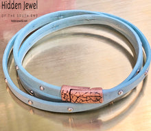 Load image into Gallery viewer, Unisex blue Leather studded bangle three times around Bracelet