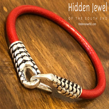 Load image into Gallery viewer, Unisex red Leather bangle Bracelet with silver hook clasp , stiff leather