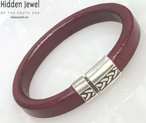 Unisex red Leather bangle Bracelet with push silver clasp , stiff leather