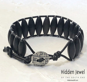 Black Onyx Leather wrap, black bangle stack-able bracelet, button clasp