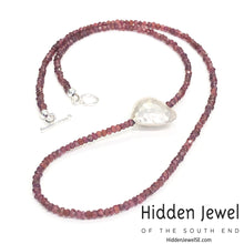 Load image into Gallery viewer, Simple Garnet necklace w/ sterling hammered heart, January birthstone