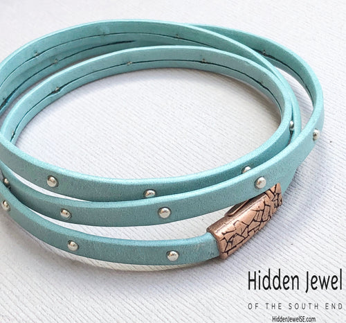 Unisex blue Leather studded bangle three times around Bracelet
