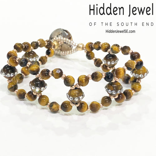 Tiger Eye Cross Weave Bracelet, Tiger Eye bracelet with CZ's, size 6''
