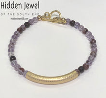 Load image into Gallery viewer, Amethyst and Super Seven gemstone bracelets, purple and gold bracelet