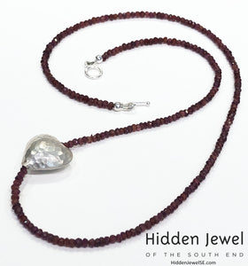 Simple Garnet necklace w/ sterling hammered heart, January birthstone
