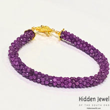 Load image into Gallery viewer, Crocheted Ruby Gemstone Bracelet, gold filled toggle, Red bracelet sz 7'""