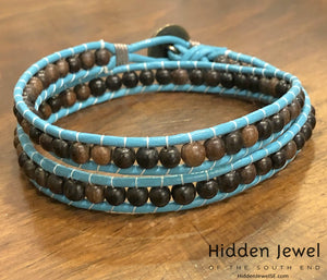 Blue Leather wrap with Ebony wood beads, mens accessories