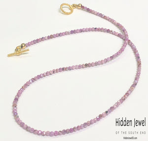 Pink Silverite Ruby Gemstone Necklace, Gold filled toggle clasp