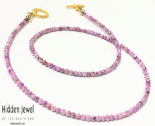 Load image into Gallery viewer, Pink Silverite Ruby Gemstone Necklace, Gold filled toggle clasp