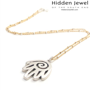 Sterling Silver Hamsa pendant with Gold Filled chain necklace, 16''