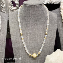 Load image into Gallery viewer, Rainbow Moonstone gemstone necklace, gold paved bead, gold filled beads