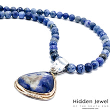 Load image into Gallery viewer, Sunset Dumoriterite necklace with Sodalite gem Pendant 20'' necklace