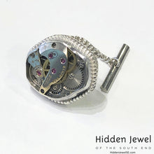 Load image into Gallery viewer, Vintage Steampunk sterling silver bezel set Watch Component Tie Tack