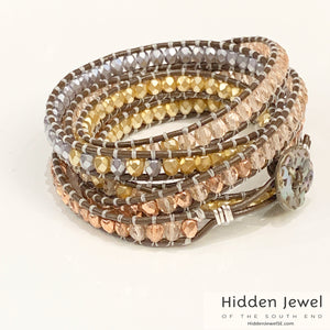 Multi-color Crystal leather wrap 6x's around, copper, gold, pink, and silver crystals 6.5''