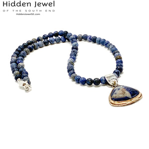 Sunset Dumoriterite necklace with Sodalite gem Pendant 20'' necklace