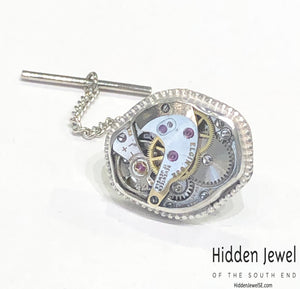Vintage Steampunk sterling silver bezel set Watch Component Tie Tack