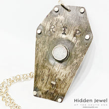 Load image into Gallery viewer, Sterling Silver Coffin pendant with white druzzy,  sterling chain