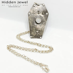 Sterling Silver Coffin pendant with white druzzy,  sterling chain