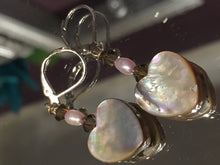 Load image into Gallery viewer, Mother of Pearl Heart Shaped Earrings, pearl earrings, heart earrings