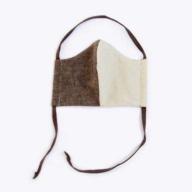 Nisolo - Upcycled Linen & Cotton Lined Mask - Coffee/Sand