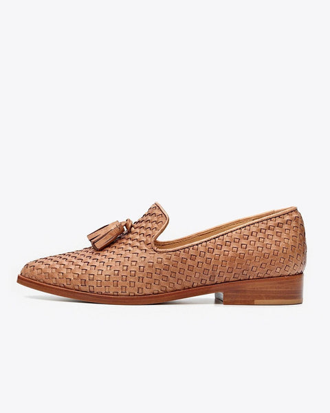 Frida Smoking Loafer Woven Brown