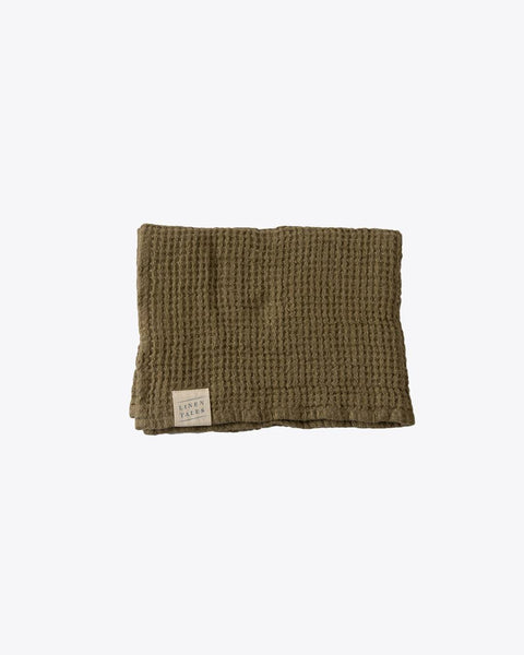 Linen Tales Waffle Hand Towel Martini Olive Linen Tales