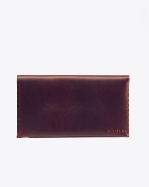Luisa Leather Clutch Brandy