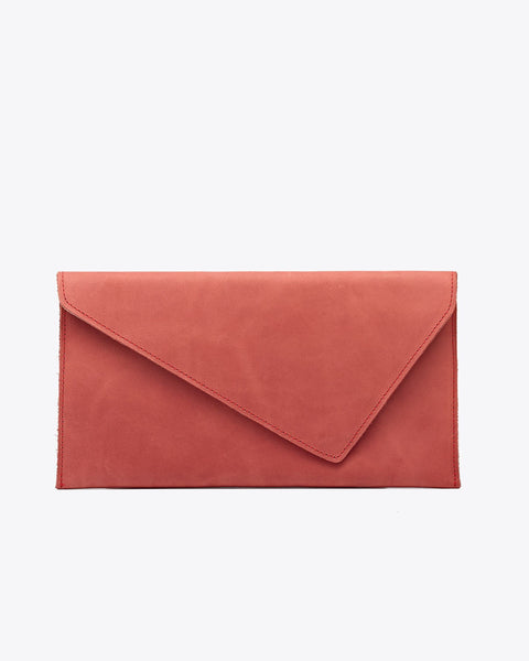 Luisa Leather Clutch Scarlet
