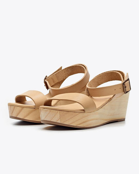 Sarita Wooden Wedge Sandal Beige