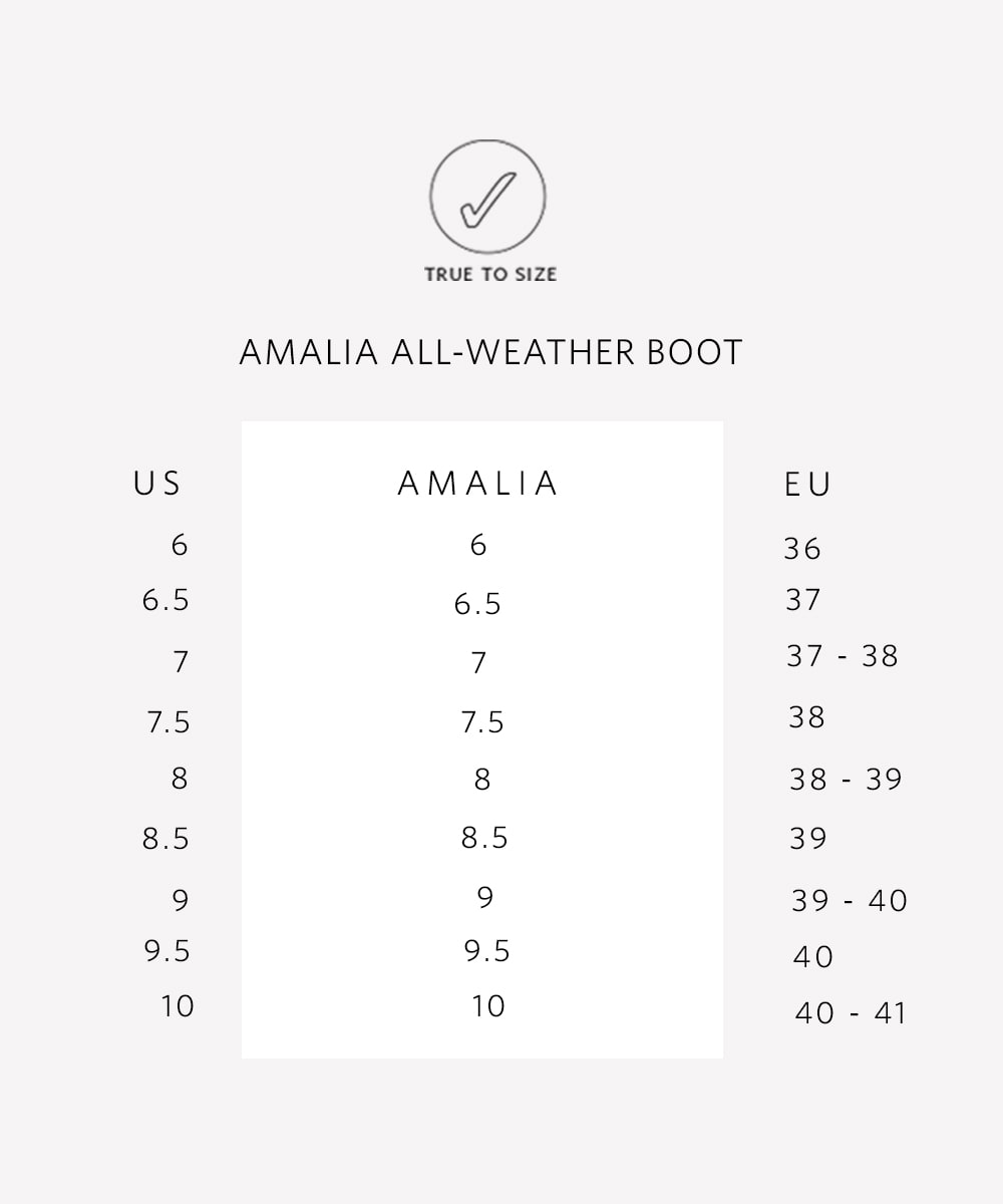 Nisolo Women's Amalia All Weather Boot Stone Sizing Guide