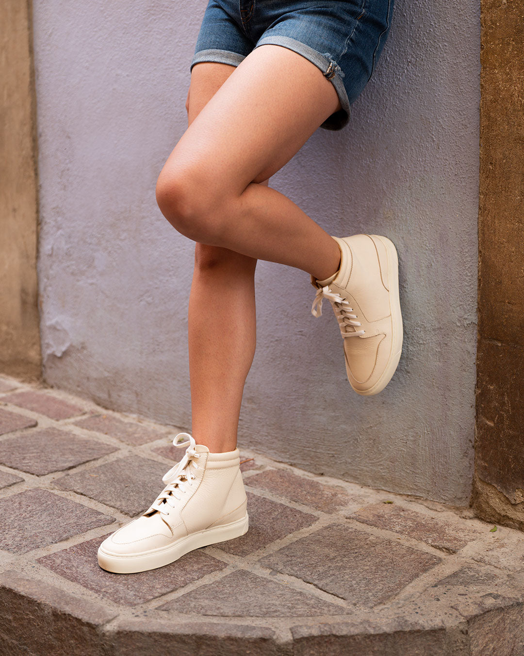 Reina High Top Sneaker Bone