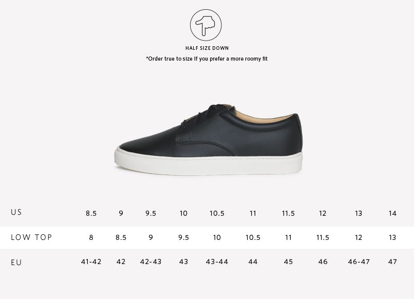 Men's Diego Low Top Sneaker Black Sizing Guide