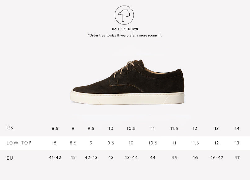 Nisolo Diego Low Top Sneaker Dark Olive Sizing Guide
