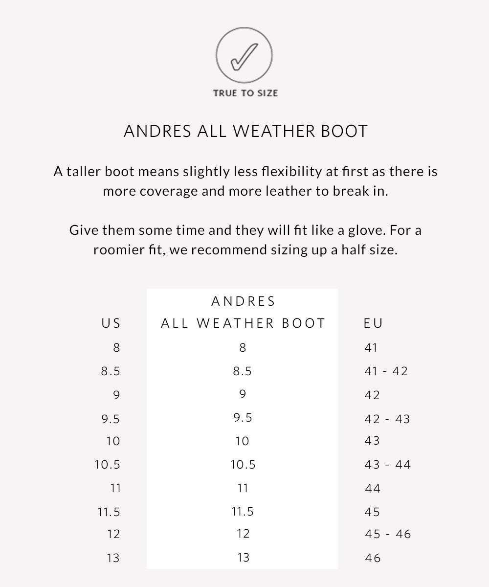 Nisolo Men's Andres All Weather Boot Stone Sizing Guide