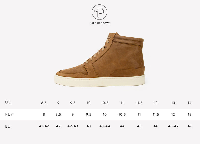 Nisolo Men's Rey High Top Sneaker Tobacco Sizing Guide