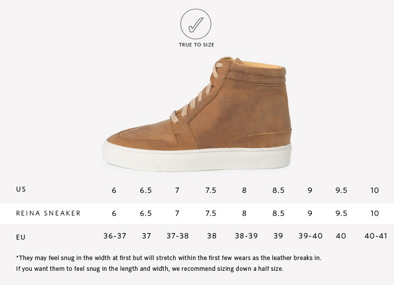 Reina High Top Sneaker Sizing Guide