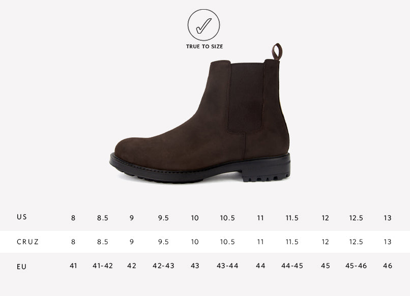 Nisolo Mens's Cruz Chelsea Leather Boot Sizing Guide
