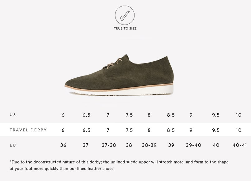 Nisolo Sizing Guide for Women's Sedona Travel Derby in Forest Green