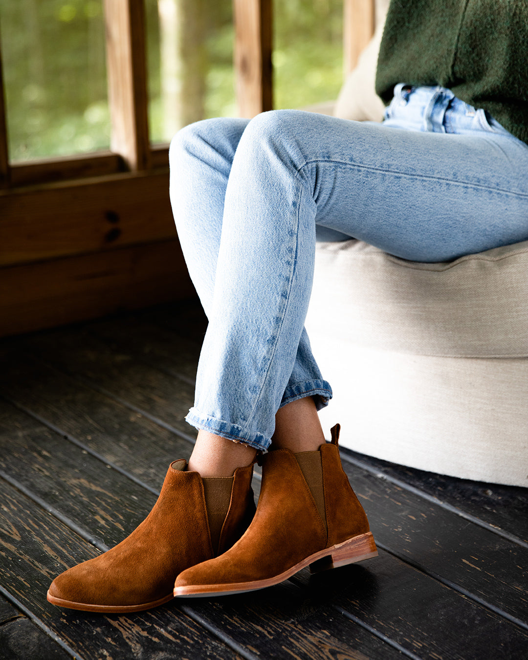 Nisolo Women's Chelsea Boot in Nutmeg Lifestyle Image