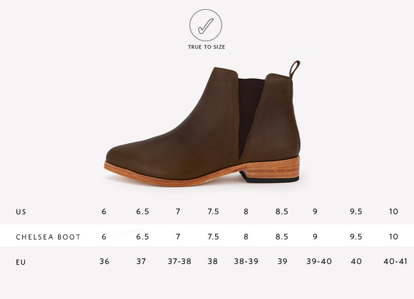Nisolo Womens Classic Chelsea Boot in Brown Sizing Guide