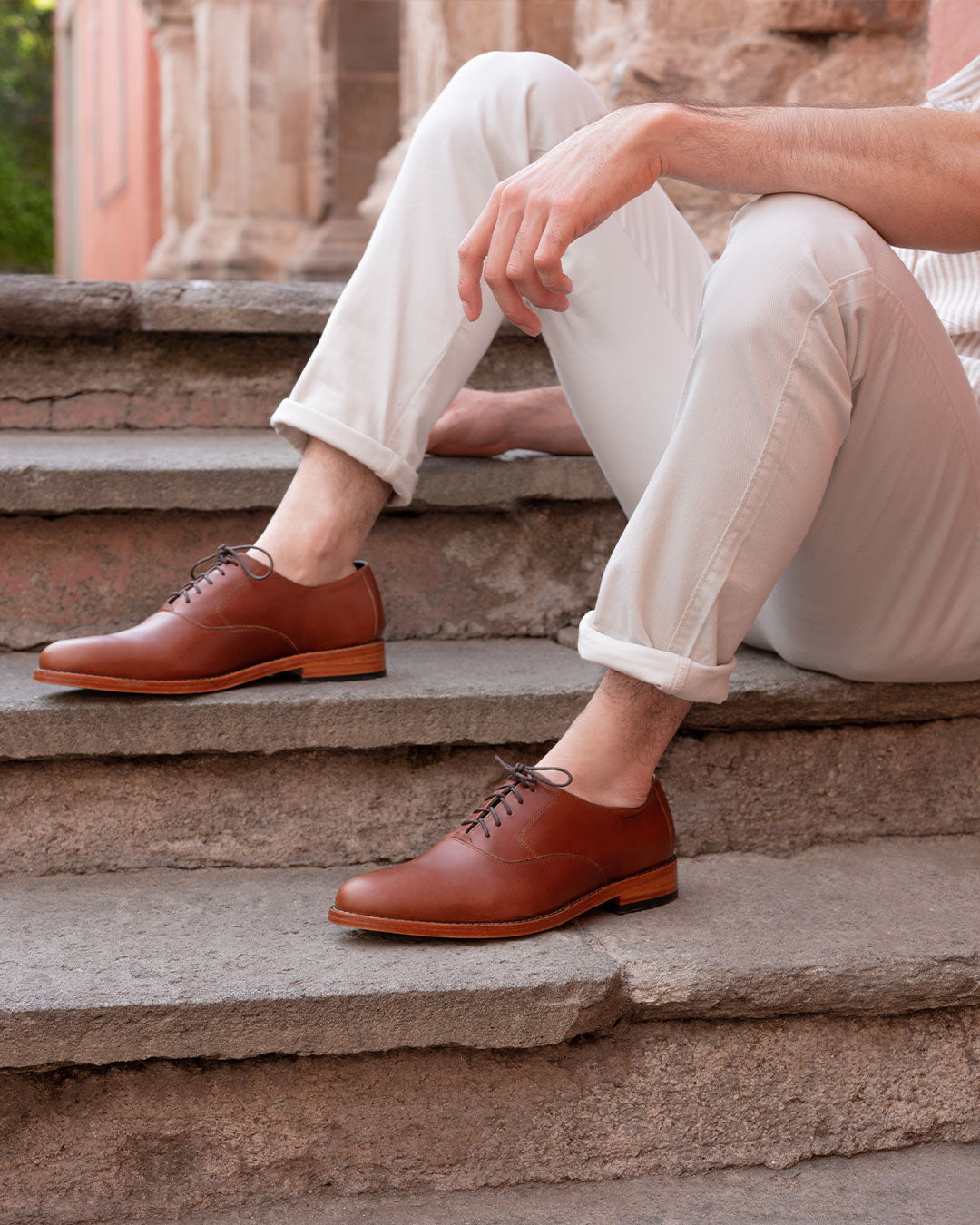 Nisolo Men's Calano Oxford in brandy | Handcrafted & Ethically Made