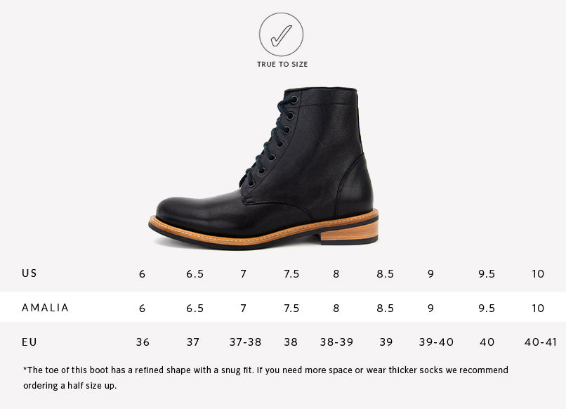 Nisolo Women's Amalia All Weather Boot Black Sizing Guide