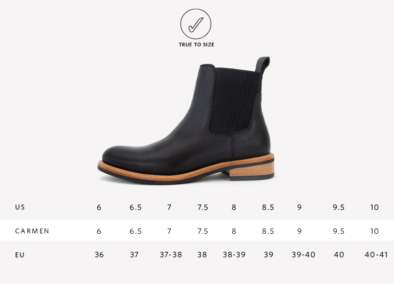 Nisolo Women's Carmen Chelsea Boot Black Sizing Guide