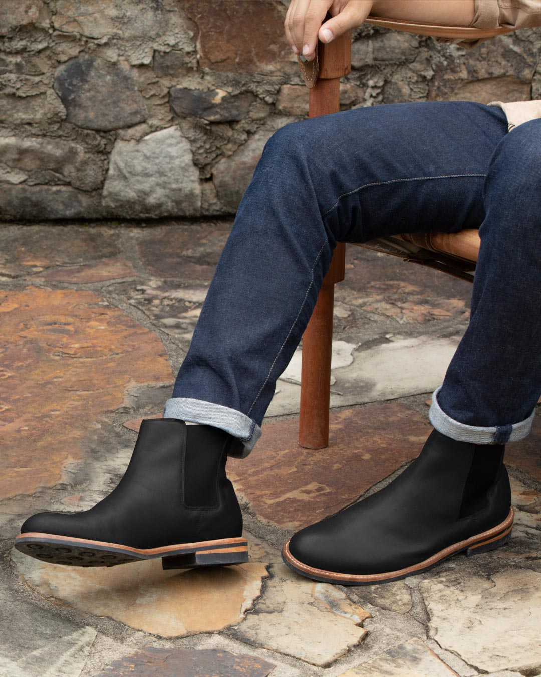 Nisolo Mens Javier Chelsea Boot Black Lifestyle Image