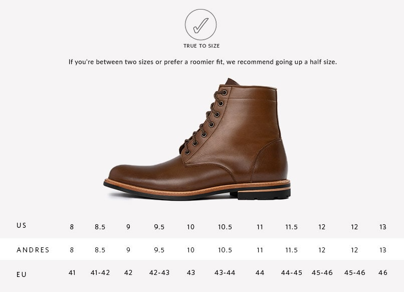 Andres All Weather Boot Sizing Guide