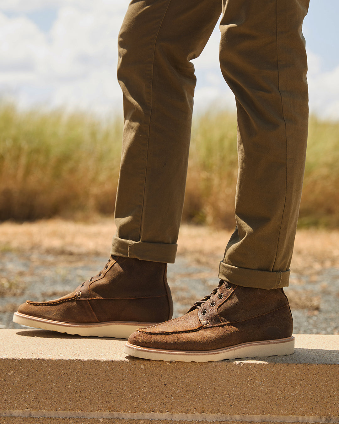 Men's leather all weather boot, waxed brown, Vibram Christy white sole, Hand-sewn moccasin stitch