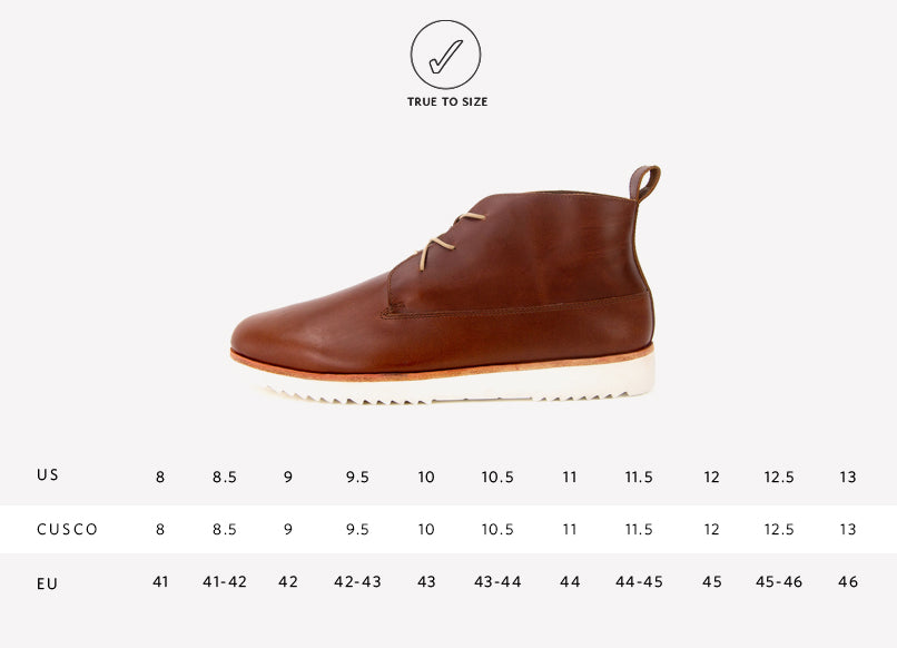 Nisolo Men's Cusco Chukka Boot in Brandy Sizing Guide