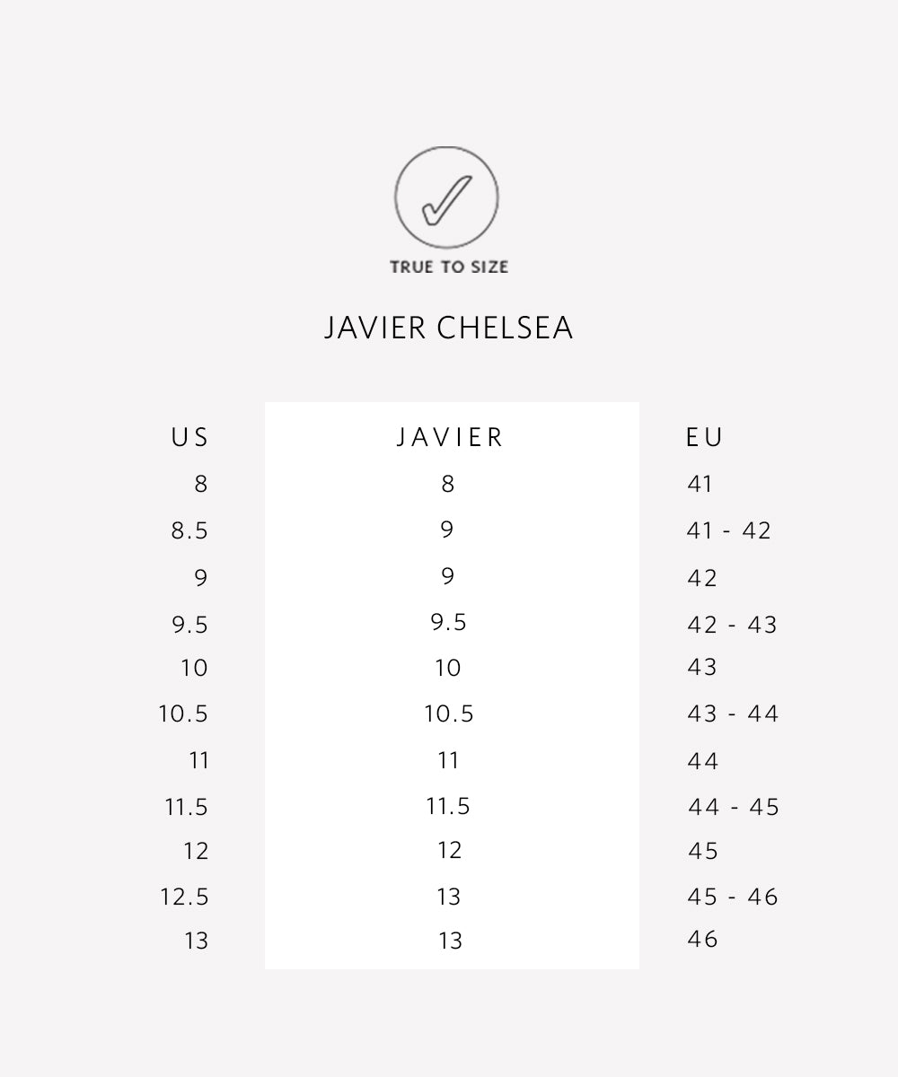 Nisolo Mens Javier Chelsea Boot Brandy Sizing Guide