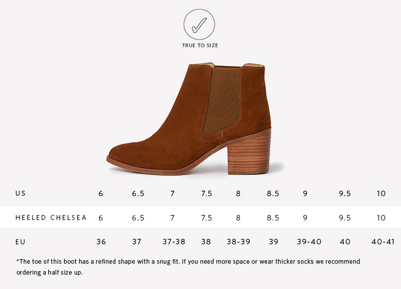 Nisolo Women's Heeled Chelsea Boot in Nutmeg Sizing Chart