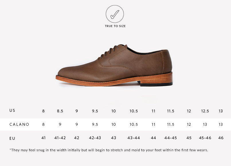 Nisolo Mens Calano Oxford Brown Sizing Guide